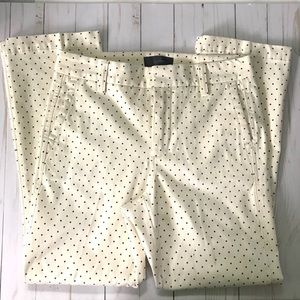 J. Crew Sammie cream & black polka dot pants